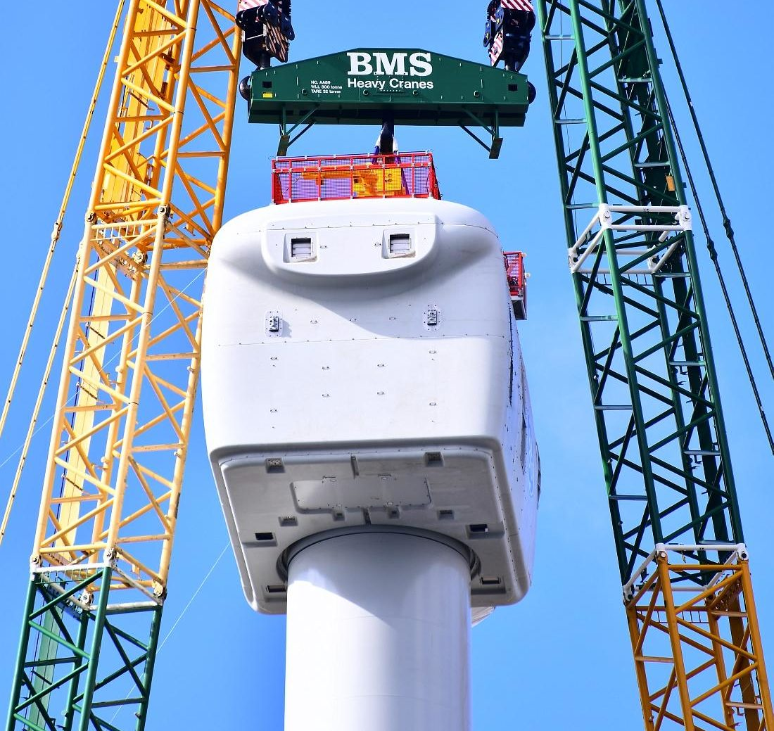Nacelle installed on GE Haliade-X 12 MW turbine