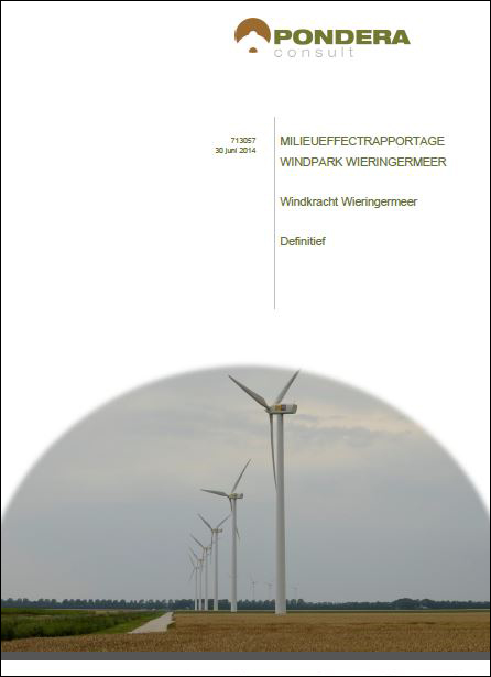 EIA and environmental impact report with environmental impact assessment Wind farm Wieringermeer in the Netherlands finished