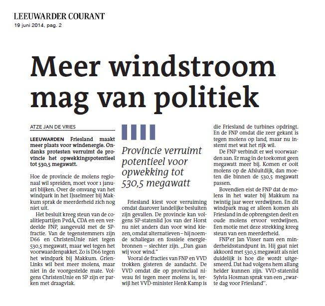 Leeuwarder Courant – Meer windstroom mag van politiek