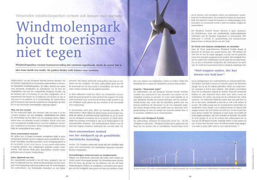 Windpark Frysl?n in het nieuws: Recreatie & toerisme juni 2014 – Windmolenpark houdt toerisme niet tegen
