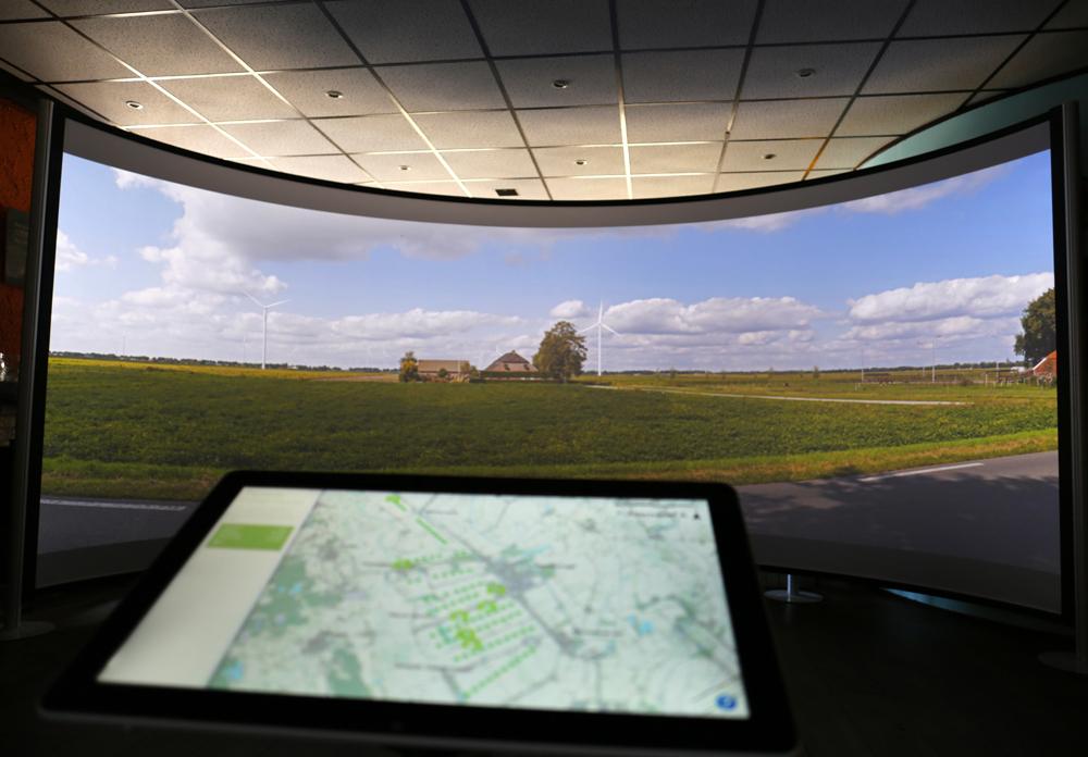 Visualisatiescherm bij RCE Landschap en Energie