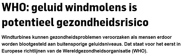 """""""WHO: geluid windmolens is potentieel gezondheidsrisico."""""""