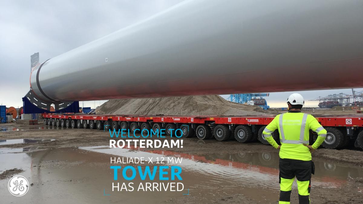 Eerste onderdelen Haliade-X aangekomen in Rotterdam