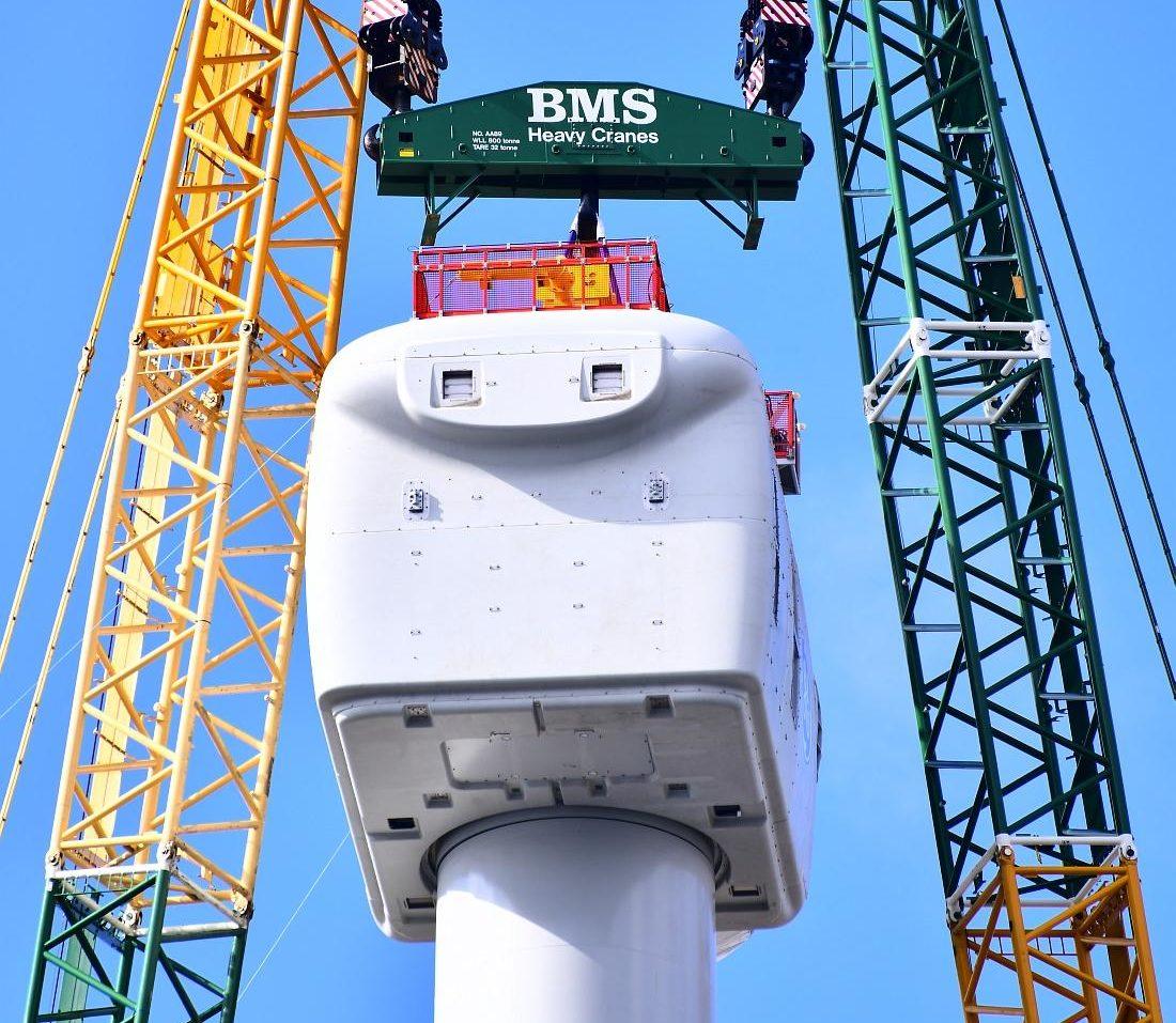 Nacelle geplaatst op Haliade-X 12 MW turbine